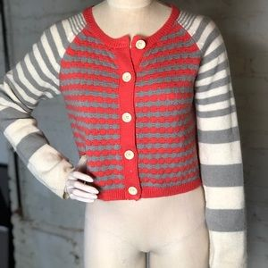 Anthropologie cardigan coral and gray